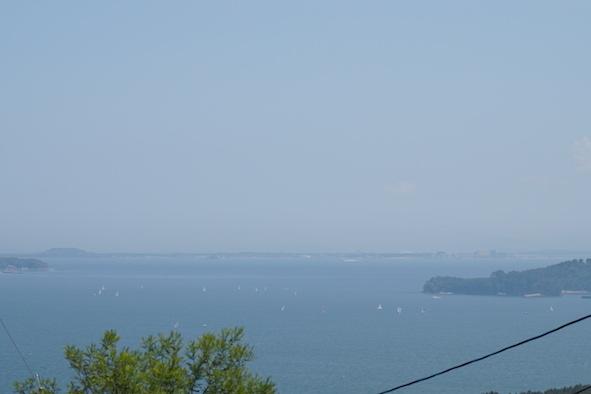 ヨットハーバーと海の中道を望めます